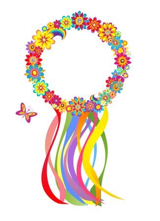 Flower wreath with colorful strips Vector