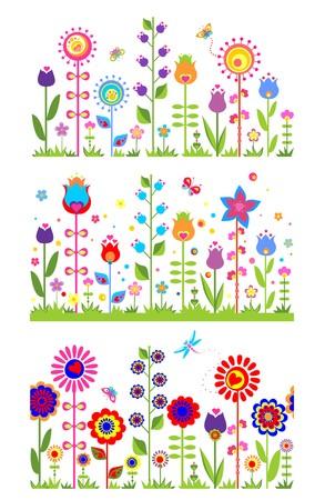 シームレスな花の抽象的なボーダー  イラスト・ベクター素材