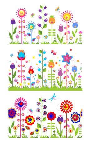 Seamless floral abstract borders