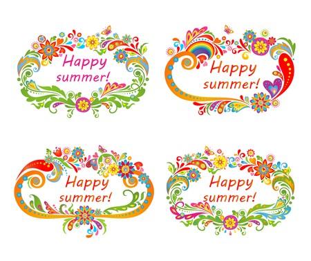 Summery floral frames Vector