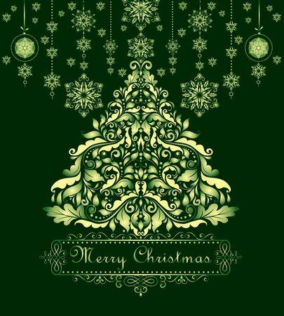 christmas tree illustration: Vintage christmas green greeting Illustration