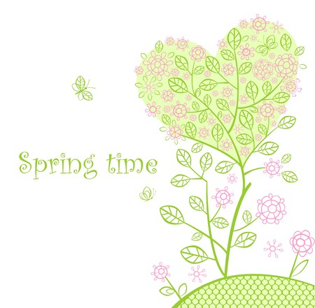 Beautiful spring lacy tree Vector