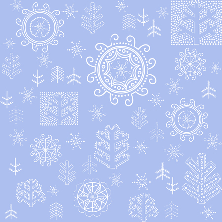 Blue wallpaper with winter print Vector