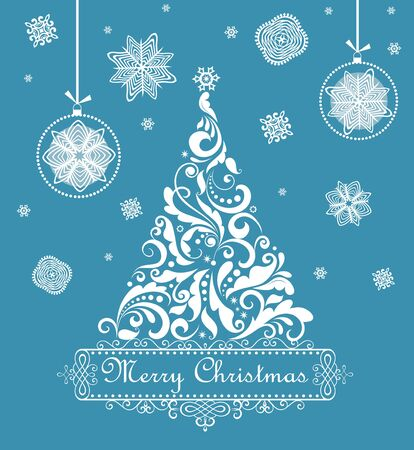 Christmas blue retro greeting card Vector