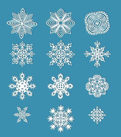 fiambres: ollection de los copos de nieve de papel hechas a mano Vectores