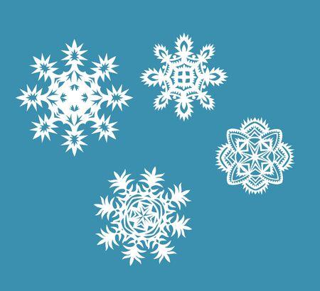 fiambres: Colección de copos de nieve de papel Vectores