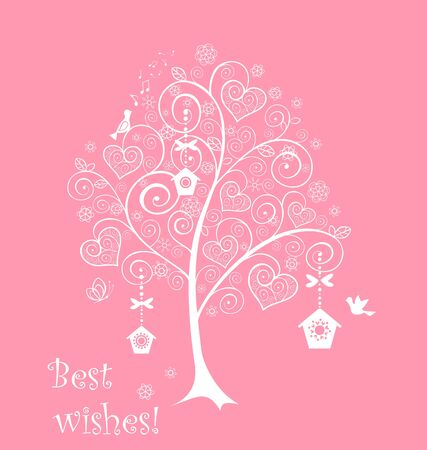 Greeting card with lacy tree Vector