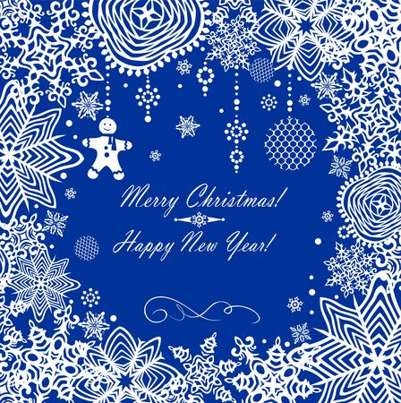 jule: Greeting xmas card with paper snowflakes