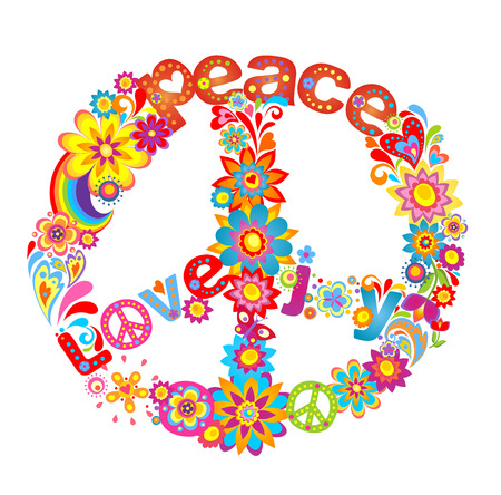 Peace flower symbol with hippie symbolic Çizim