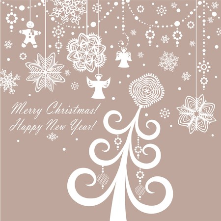 paper cut out: Retro paper xmas greeting card Illustration