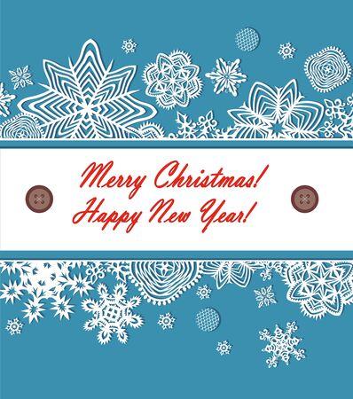 seasonal greeting: Seasonal greeting with paper snowflakes