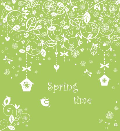 Spring lacy card with funny little birds Vector