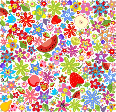summery: Summery floral wallpaper with fruits Illustration