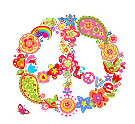 flowerpower: Vintage peace flower symbol