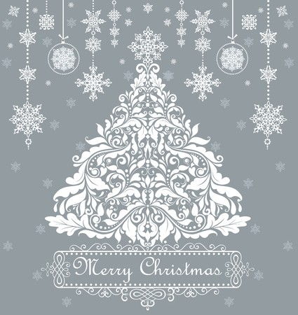 Vintage xmas greeting with decorative floral tree Vector