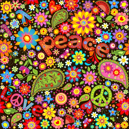 Wallpaper with hippie symbolic Vector
