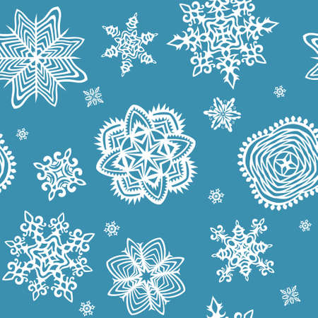 fiambres: Fondo de pantalla con los copos de nieve de papel Vectores