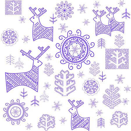 тундра: Обои со стилизованной зимний синяя печать