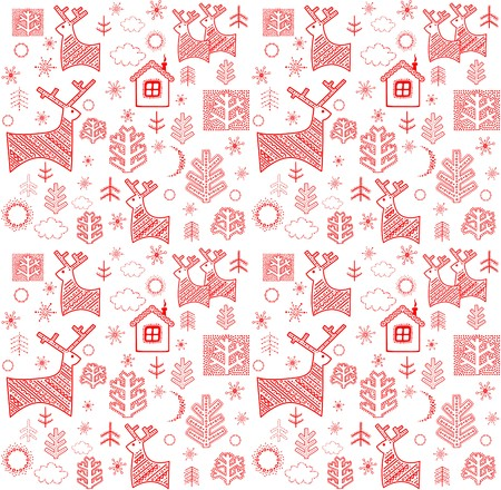 Wallpaper with red winter print Illustration
