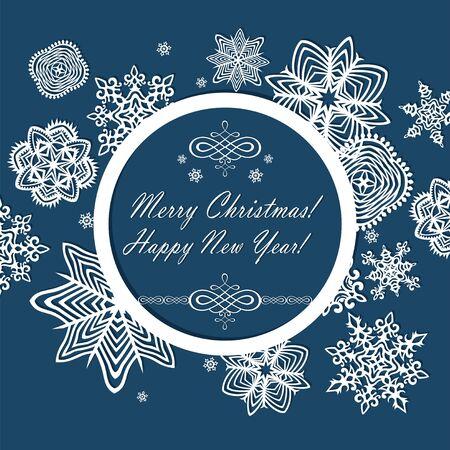 Winter frame with seasonal greetings Ilustração