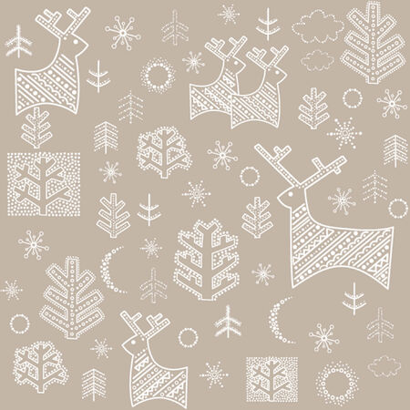 christmas seamless pattern: Winter pastel wallpaper with reindeer and fir Illustration