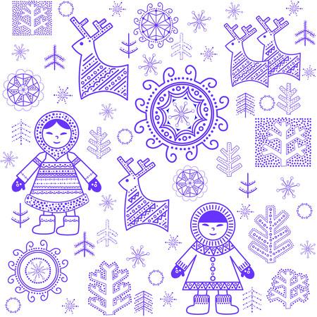 the inuit: Winter print with Eskimo Illustration