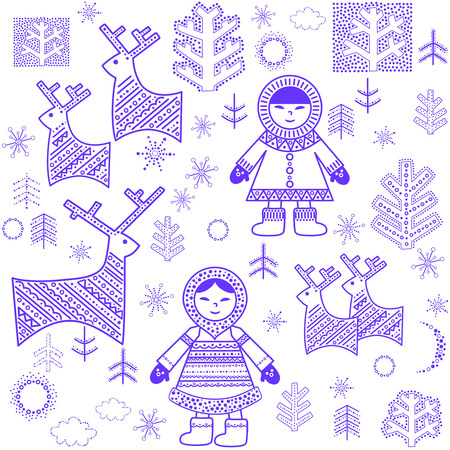 the inuit: Winter wallpaper with Eskimo