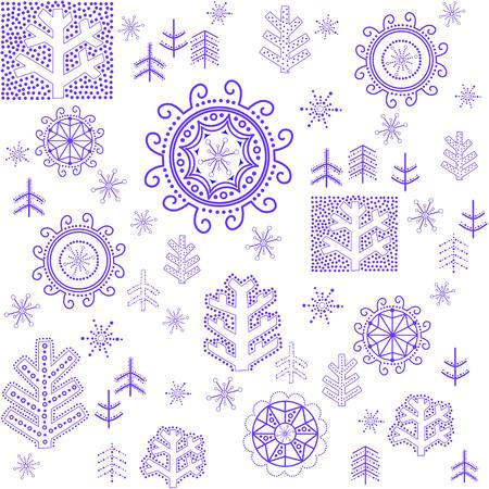 winter wallpaper: Fondo de pantalla de invierno con copos de nieve estilizada
