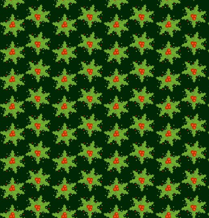 ilex: Xmas wallpaper with ilex Illustration