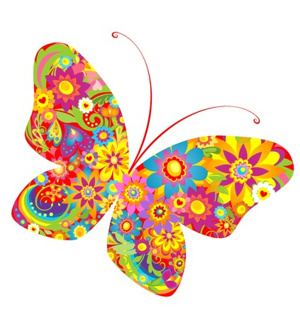 Flowers colorful butterfly 일러스트