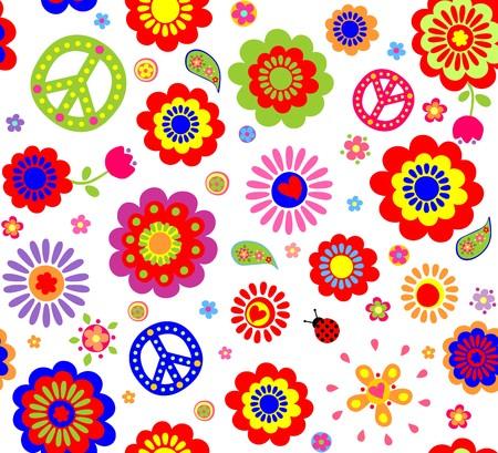 Hippie wallpaper with abstract flowers Stock Illustratie