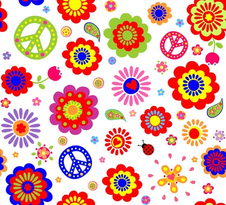 Hippie wallpaper with abstract flowers Çizim