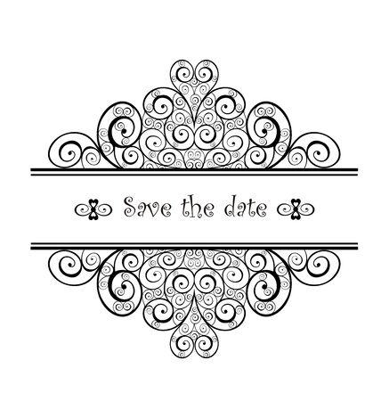 swirly design: Vintage wedding heading with swirly design