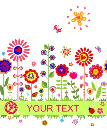 Greeting seamless border with funny abstract flowers Vector
