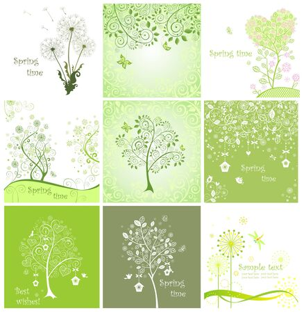 Spring decorative cards Vector