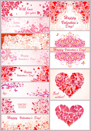 valentines: Set of horizontal banner for Valentines day