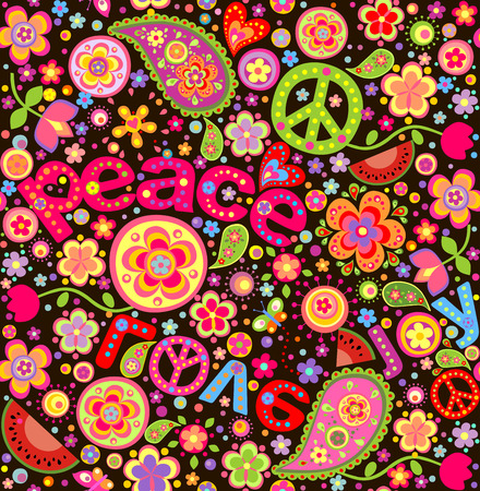 peace and love: Hippie colorful wallpaper with watermelon
