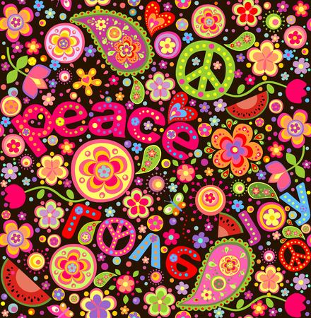 simbolo paz: Papel pintado colorido del Hippie con la sandía