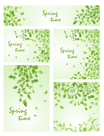 Set of spring green templates