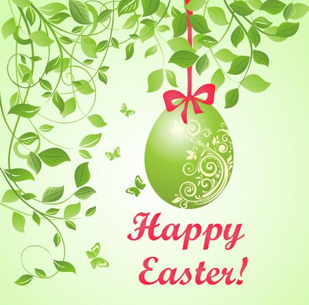 Easter green card with hanging egg Illustration