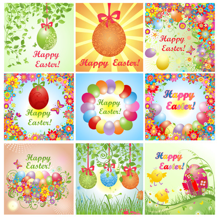 su: Easter greeting cards. Set.