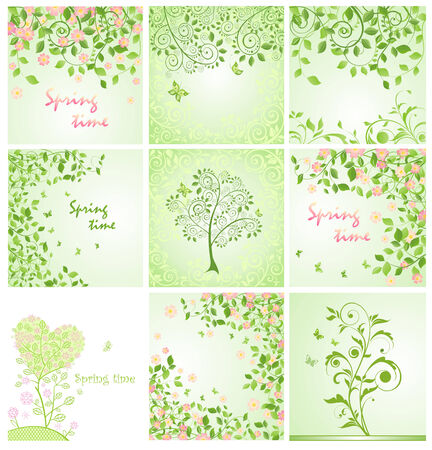 Green spring decorative floral cards Vector