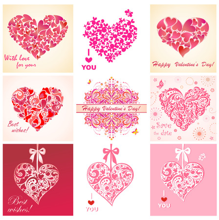 Greeting cards with hearts Vector