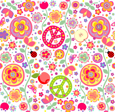 Childish hippie wallpaper Vector