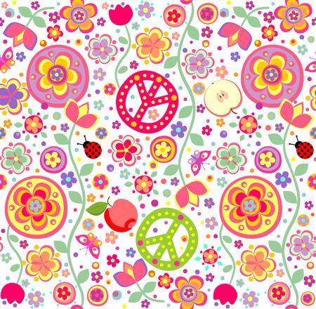 flower power: Childish hippie wallpaper