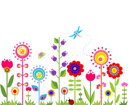 Spring seamless border with funny abstract flowers