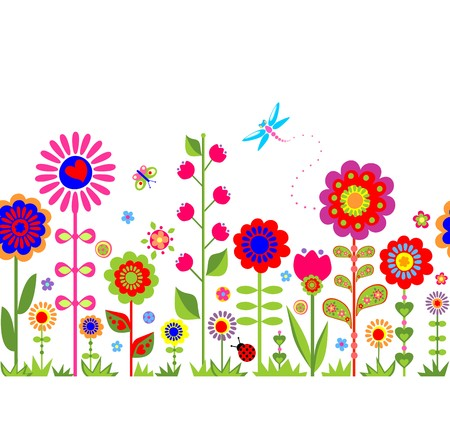 Spring seamless border with funny abstract flowers Vector