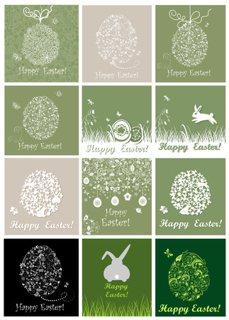 pasch: Beautiful easter cards with lacy and paper eggs Illustration