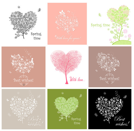 song bird: Cute greeting cards with decorative tree