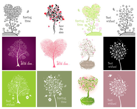 Decorative cards with beautiful tree Vector